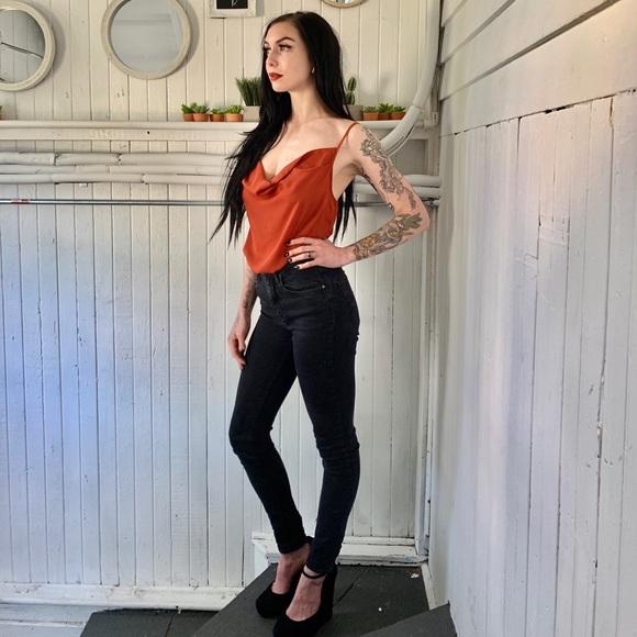 a81a39ed287 Burnt orange drapey spaghetti strap bodysuit. M_5cf7e7172e7c2f5b14f05cb5